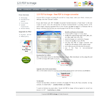 123 PDF to Image Professional Edition preview. Click for more details
