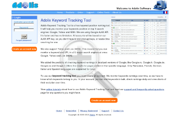 Adolix Keyword Tracking Tool Premium Service Plan preview. Click for more details