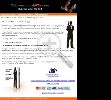 Become Like Bond Be Spy Subliminal Audio preview. Click for more details