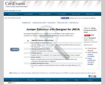 CE Network Simulator for Juniper Junos JNCIA preview. Click for more details