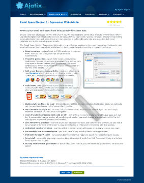 Email Spam Blocker Expression Web AddIn preview. Click for more details