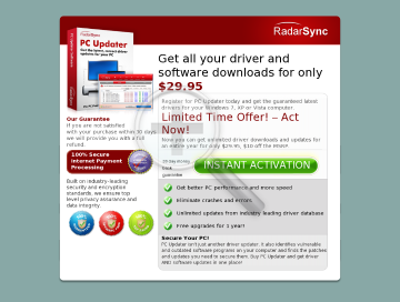 RadarSync PC Updater preview. Click for more details