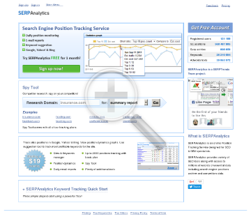 SERPAnalytics Subscriptions preview. Click for more details