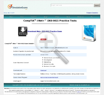 Sim iNet Practice Tests preview. Click for more details